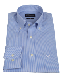 Overhemd 100% katoen, button down kraag, blauw ruitje, (196069)