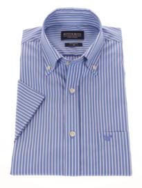 Overhemd korte mouw, 100% katoen, 2Ply, button down kraag, streep blue, 197022