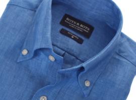 Overhemd 100% linnen, jeans blue, korte mouw (207003)