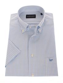 Overhemd korte mouw,  97% cotton 3% lycra, blauw ruitje, Button down kraag