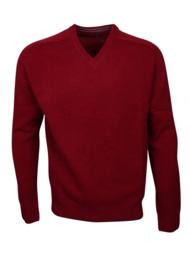 Pullover mit V-Ausschnitt, burgund, 100%  Original Scottish Lammwolle (20001)