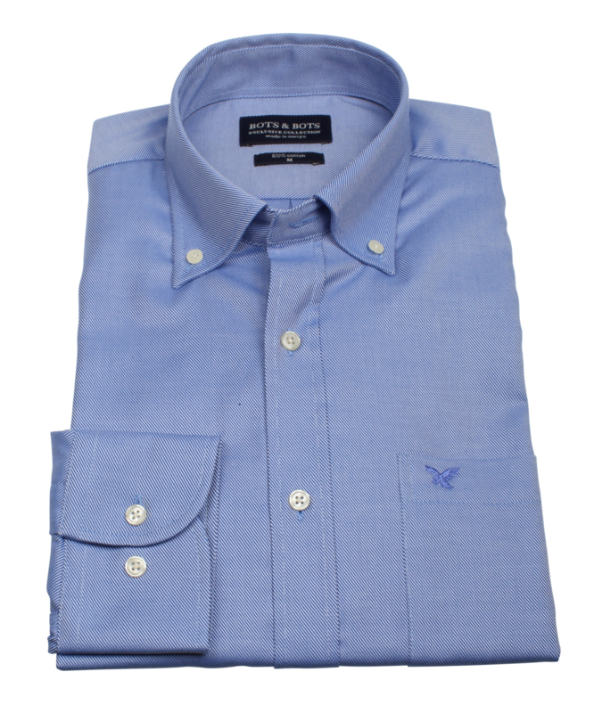 Overhemd 100% katoen, blauw uni, button down kraag, lange mouw, (196063)