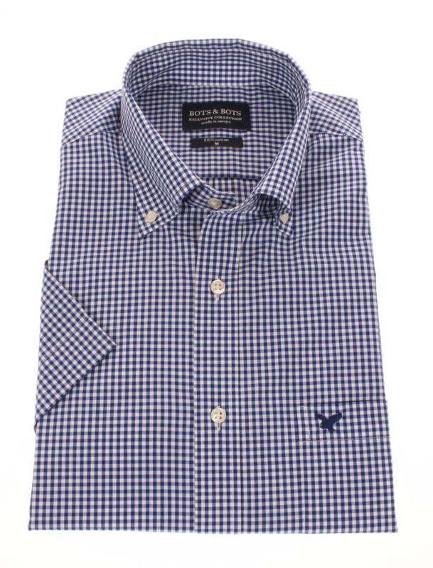 Overhemd korte mouw, 100% katoen, button down kraag, blauw ruitje, 197041