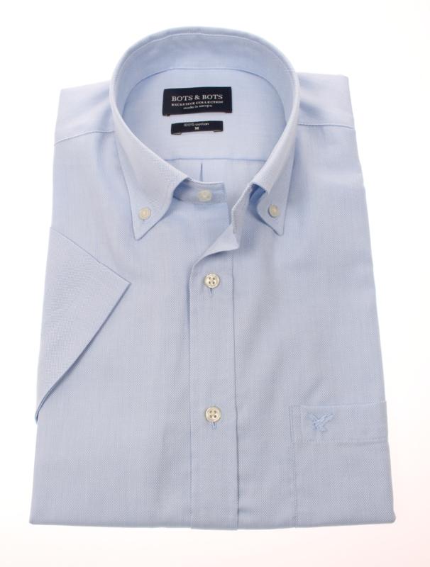Overhemd korte mouw, 100% katoen, button down kraag, uni blue, 187030