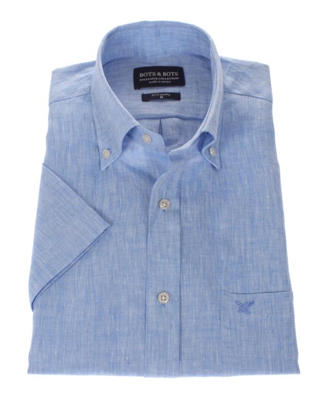 Overhemd 100% linnen, licht blauw, button down, korte mouw (207002)