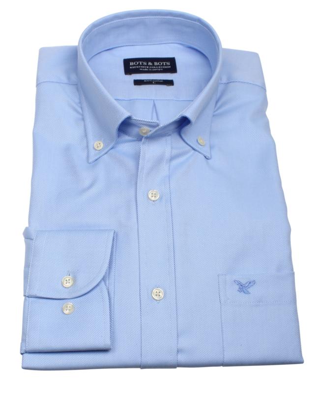 Overhemd lange mouw, 100% katoen, 2 ply, button down kraag, uni blue, (196064)