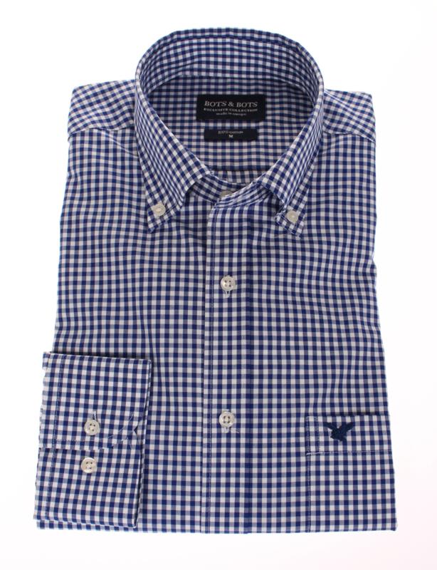 Overhemd, 100% katoen, lange mouw, button down, classic ruitje (196043)