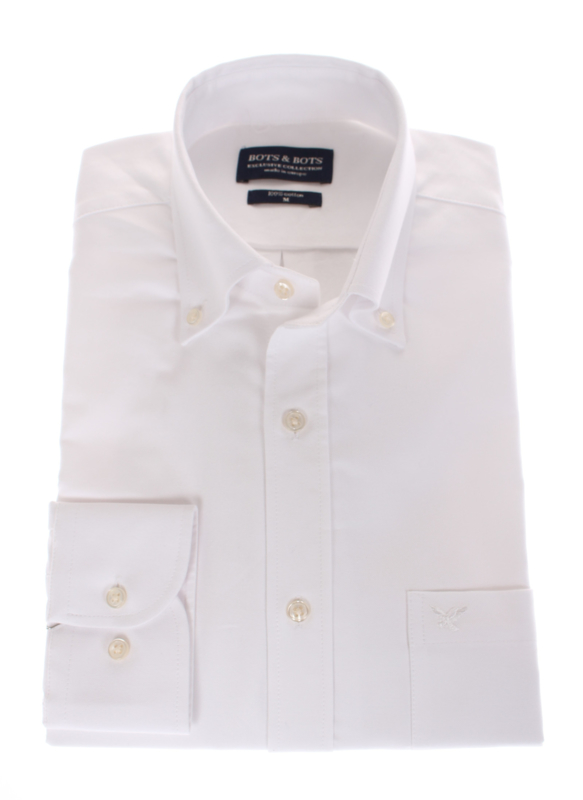 overhemd, oxford, button down, lange mouw, wit 196037