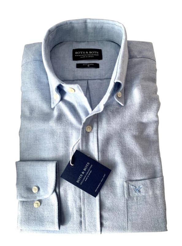Overhemd made in Europe, 80% katoen & 20% wol, button down, 210002