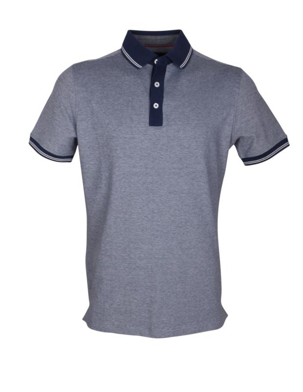 Poloshirt, blauw met navy kraag, 95% katoen en 5% elastan, pasvorm slim-fit (194632)