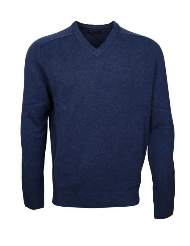Pullover V-hals, Denim, Originele Schotse Lamswol (20004)
