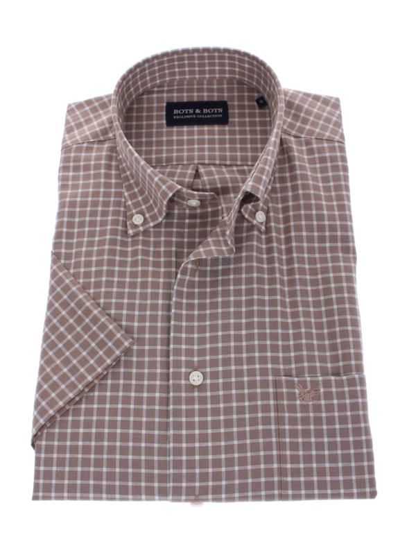 Overhemd korte mouw,  70% cotton 30% linnen, bruin ruitje, Button down kraag