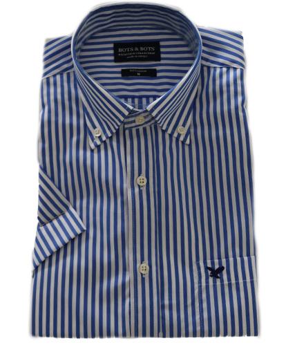 overhemd 100 % katoen overhemd, streep blauw, Korte mouw 217021