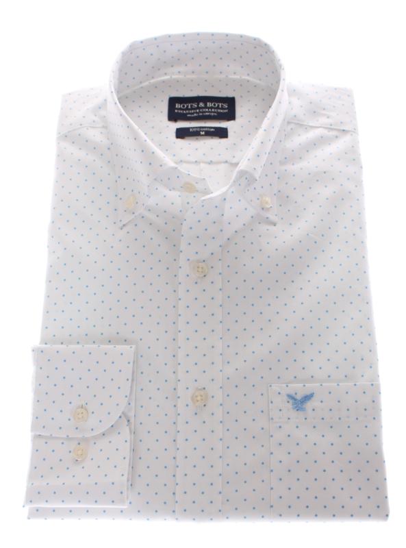 Modisch print overhemd met button down, wit met print in bleu, 100% katoen (196016)
