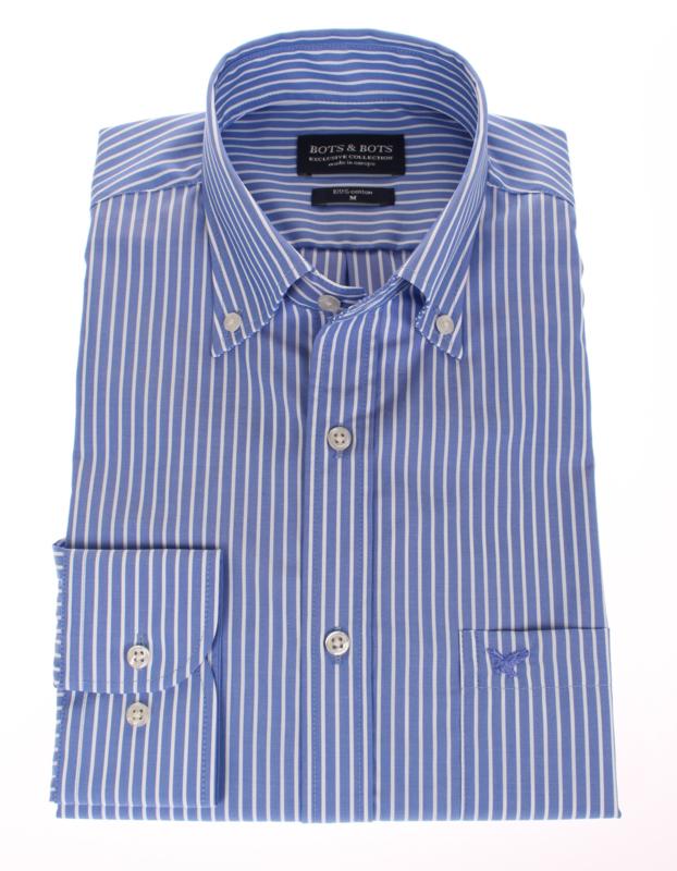 Overhemd 100% katoen, button down kraag, blauwe streep, 2 ply 196022
