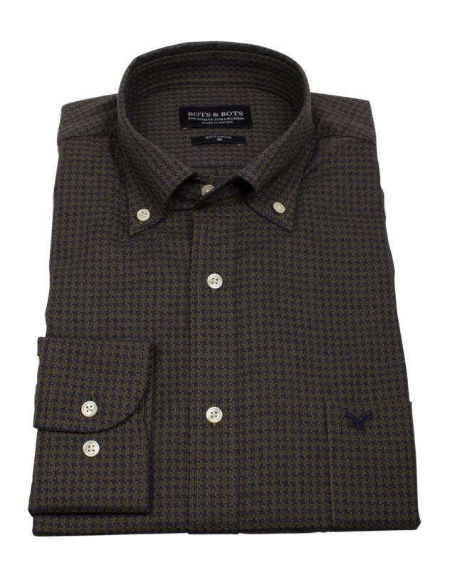 Overhemd 100% katoen, dobby , button down kraag, lange mouw, (196054)