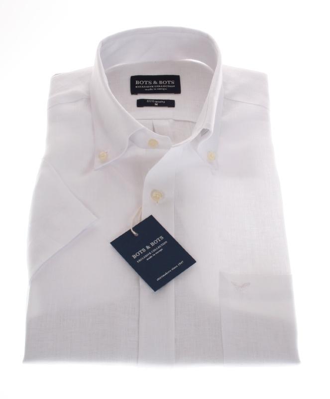 overhemd 100 % Linnen overhemd, Wit, Korte mouw 207001