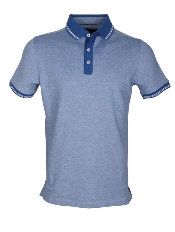 Poloshirt, licht blauw met navy kraag, 95% katoen en 5% elastan, pasvorm slim-fit (194630)