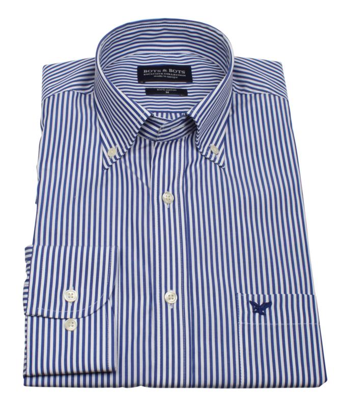 Overhemd 100% katoen, 2 ply, button down kraag, blauw streepje, (196067)