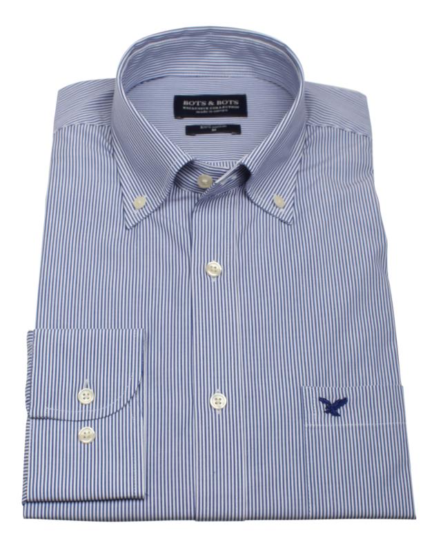 Overhemd 100% katoen, Classic streepje, button down kraag, lange mouw, (196070)