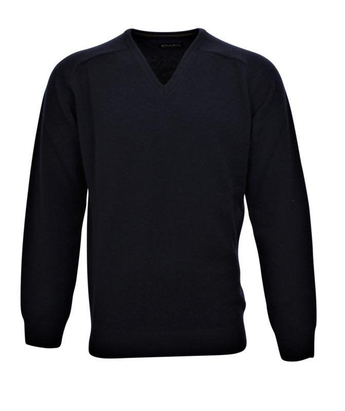 Pullover V-hals, navy , 100% lamswol20002)