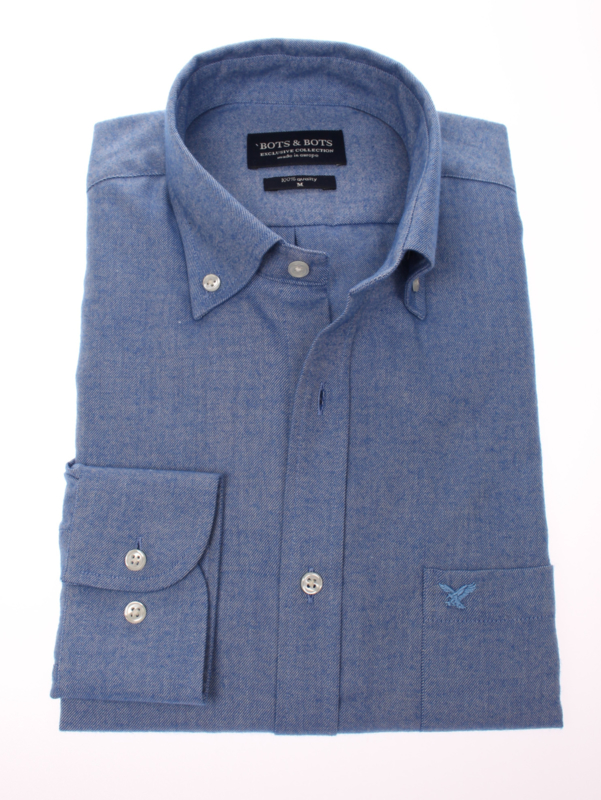 Overhemd  made in Europe, 80% katoen & 20% wol, button down, 210001