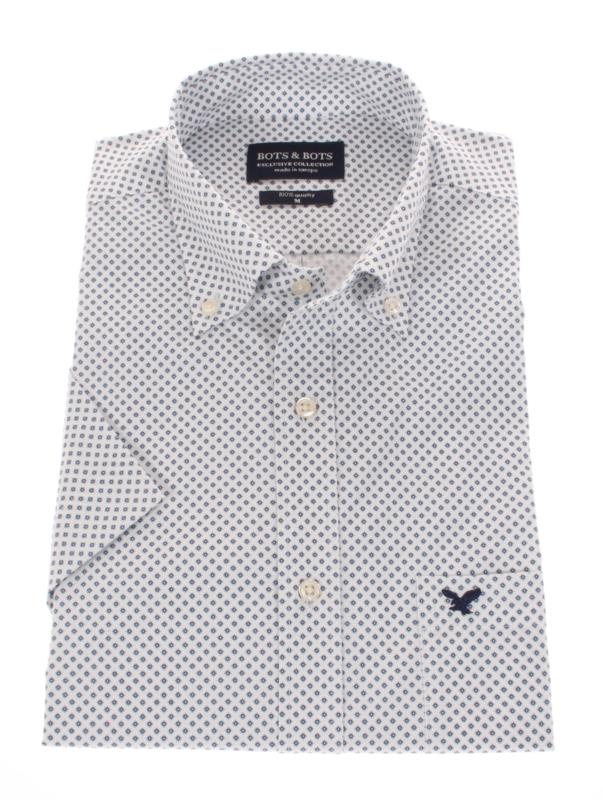 Overhemd korte mouw, 100% katoen, button down kraag, print, 197034