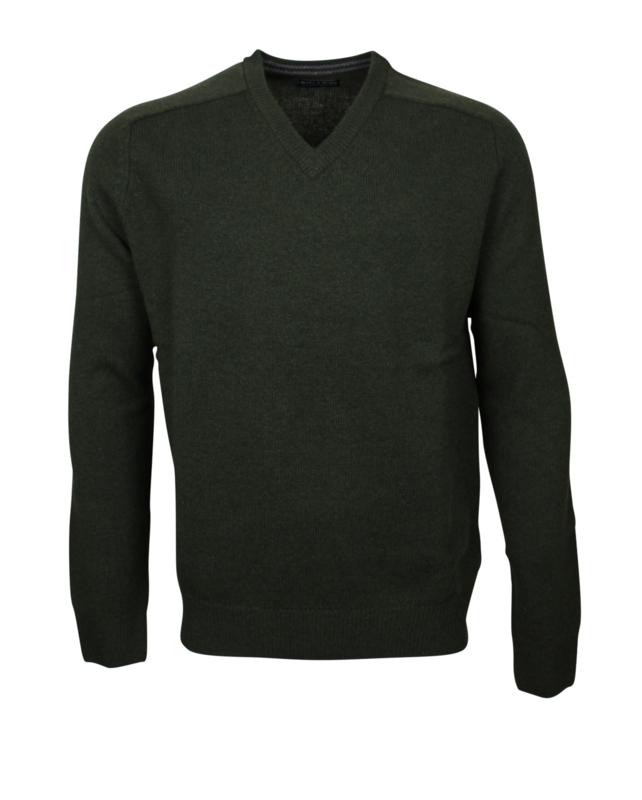 Pullover V-hals, groen, Originele Schotse Lamswol (20006)