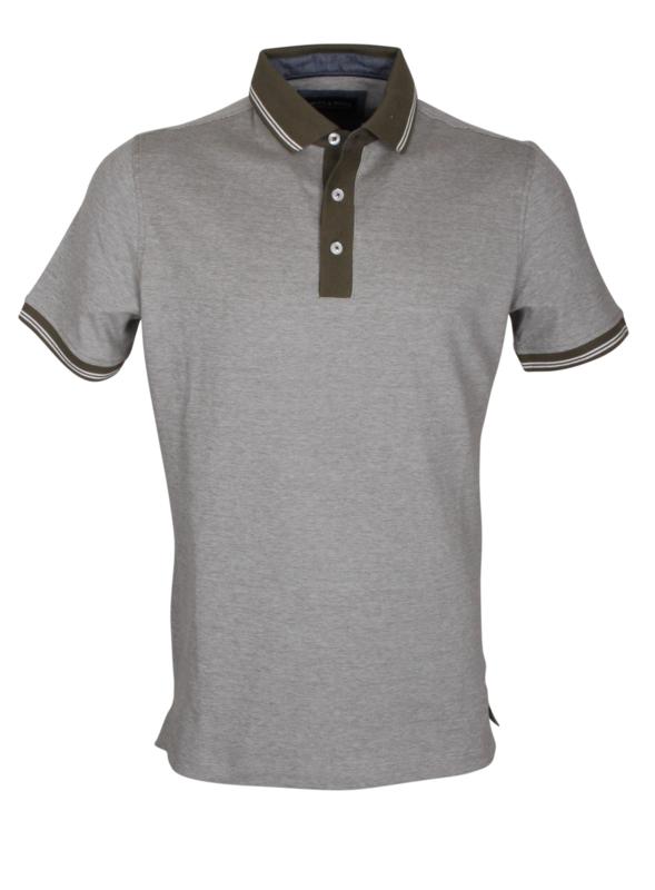 Poloshirt, olijf kleur met groene kraag, 95% katoen en 5% elastan, pasvorm slim-fit (194631)