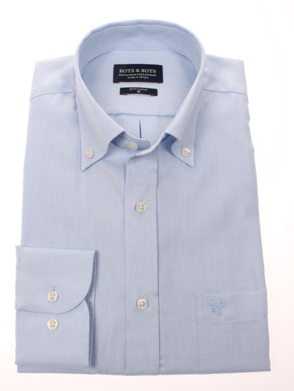 overhemd 100% katoen. lange mouw, button down kraag, uni blue 186030 2ply