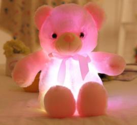 Knuffelbeer 50cm roze - LED Licht - lichtgevende teddybeer - lichtgevende knuffel roze