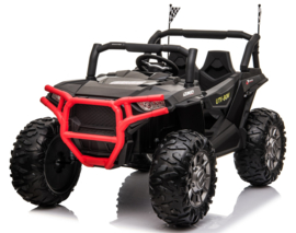 Beach Buggy zwart  24V, MP4 TV, eva, 2 zitter, BlueTooth, 2.4ghz, softstart, zwart leder (JC999zw)