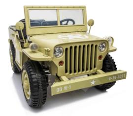Jeep Desert Fox, Willy's jeep, 4wd, eva, leder, BlueTooth, 2.4ghz softstart, 3 zitplaatsen. (JH-101D)
