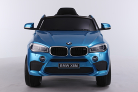 BMW X6M 12V, blauw metallic+2.4ghz softstart RC , rubberbanden , leder (X6Mblue)