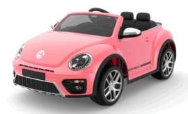 VW Dune Beetle roze, 12V , leder, FM radio , Bluethooth, 2.4ghz afstandsbediening ( S303pk)
