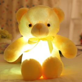 Knuffelbeer 50cm geel - LED Licht - lichtgevende teddybeer - lichtgevende knuffel geel