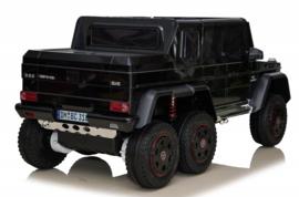 Mercedes-Benz G63 6x6 zwart, Mp4 TV, 12V10ah accu , 2.4ghz softstart afstandsbediening, leder (DMD-318zw)