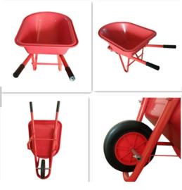 Kruiwagen voor kinderen met kunststofbak. Groot model