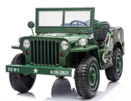 Jeep Army, Willy's jeep, 4wd, eva, leder, BlueTooth, 2.4ghz softstart, 3 zitplaatsen. (JH-101A)