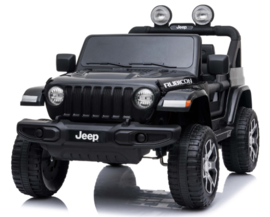 JEEP Wrangler Rubicon, zwart, MP4 scherm,FM, BT, 12V, leder, 2.4ghz softstart RC (JWR555zw)