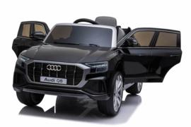 Audi Q8 Quattro S-line 12V, metallic zwart, leder, 2.4ghz RC, EVA (JJ2066zw)