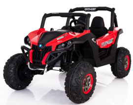 Beach Buggy rood , Mp4 TV, 2 zitter, 12V, 2.4ghz, softstart, 4x4, eva, leder (XMX-603rd )
