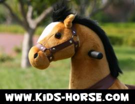 """Kids-Horse """"Balthazar""""  bruin witte bles en hoef, voor kids van 3-6 jaar.  (TB-2009S)"""