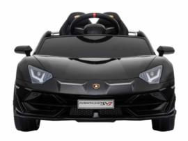 Lamborghini SVJ, 12V,  zwart metallic ,2.4ghz, FM, lambo  deuren, lederen stoel (HL238zw)