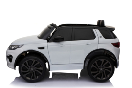 Land Rover Discovery, wit, MP4 TV scherm. leder Look, rubberbanden, 2.4ghz rc (DiscoWT)