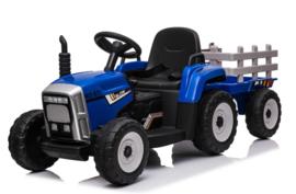 Tractor blauw + trailer, leder look,  12V7ah , BlueTooth, 2.4ghz  (XMX611))