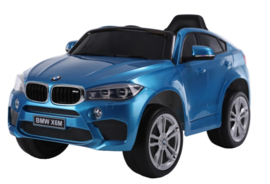 BMW X6M 12V, blauw metallic+2.4ghz softstart RC , rubberbanden , leder (JJ2199 blue)