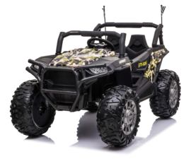 Beach Buggy Camo paint 24V,MP4 TV , eva,  2 zitter, BlueTooth, 2.4ghz, softstart, zwart leder (JC999cm)