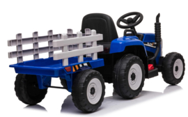 Tractor blauw + trailer, leder look stoel,  12V7ah , BlueTooth, 2.4ghz  (XMX611))