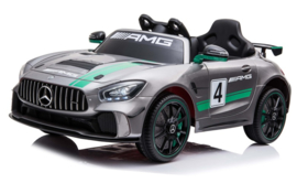 Mercedes GT4 ///AMG zilver metallic, Mp4 TV, 12V + 2.4GHZ  RC , eva , leder (GT4zil)